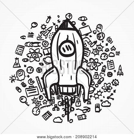 Rocket sketch icon. Creative idea, Vector illustration