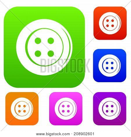 Sewing button set icon color in flat style isolated on white. Collection sings vector illustration
