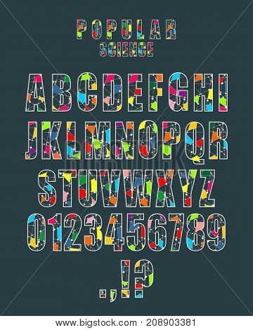 Decorative alphabet vector font. Letters symbols and numbers. Typography for headlines, posters, logos etc. Molecule And Communication style. Connected lines with dots.