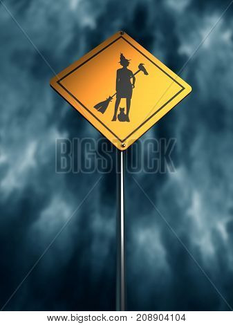 Warning yellow road sign with standing witch icon. Storm clouds on backdrop. 3D rendering