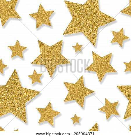 Seamless pattern with gold stars of sequin confetti. Glitter powder sparkling background