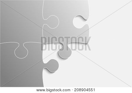 Three Grey Piece Puzzle Round Infographic Presentation. 3 Step Rectangle Business Diagram. Four Section Compare Service Banner. Vector Illustration Template Shape.