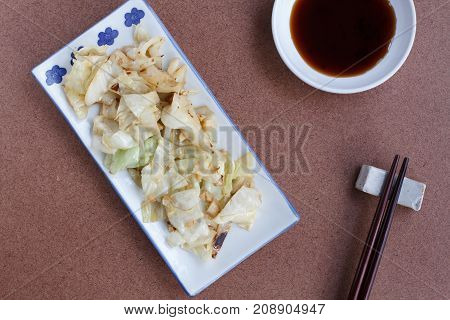 Stir-Fried Cabbage with Fish Sauce ,Top view