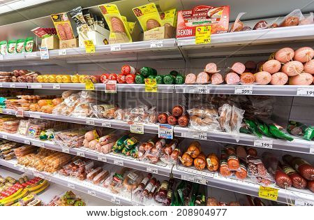 Samara Russia - September 3 2017: Different meat and sausage ready for sale in the supermarket Pyaterochka. One of largest retailer in Russia