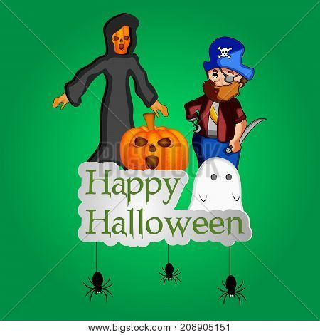 illustration of pumpkin, Evils and pirate with happy Halloween text on the occasion of Halloween Celebration