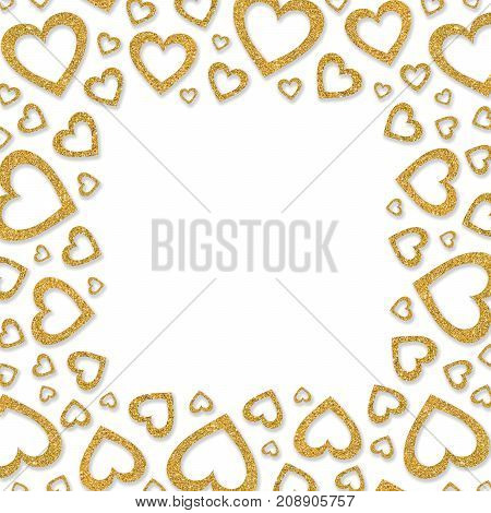 Frame of shiny gold metal hearts. Glitter powder border for St.Valentine's Day.