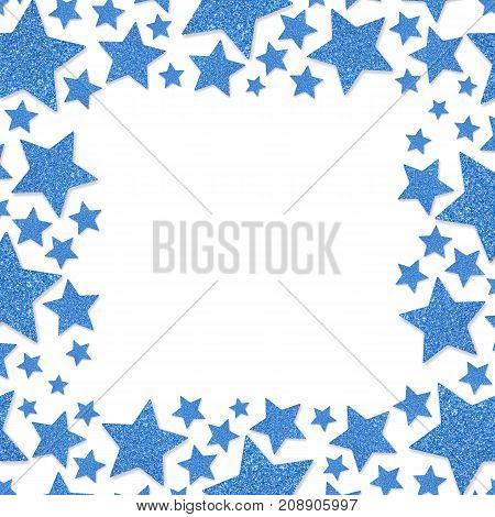 Frame of shiny blue metal stars isolated on white background. Glitter powder border for St.Valentine's Day.