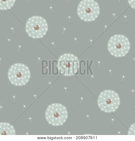 Beautiful elegant muted colors gentle serene floral white dandelions on gray seamless pattern