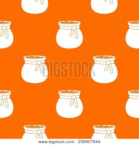 Bag full of gold coins pattern repeat seamless in orange color for any design. Vector geometric illustration