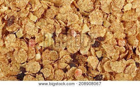 Granola Muesli With Dried Fruits Close Up