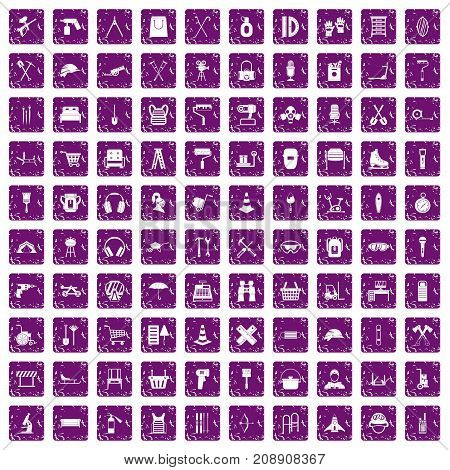 100 outfit icons set in grunge style purple color isolated on white background vector illustration