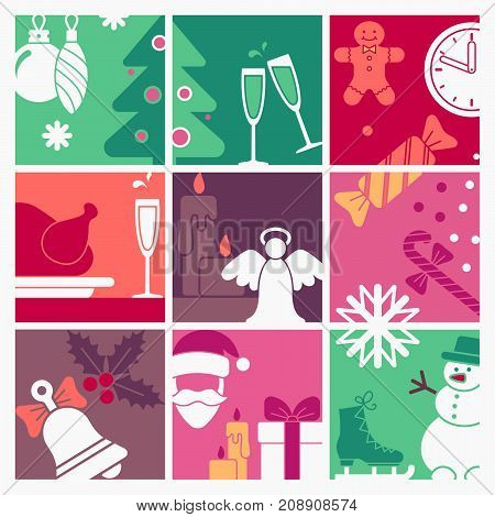 Christmas and new year symbols in retro style