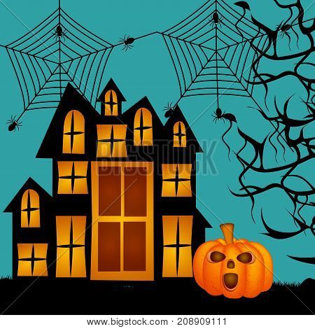 illustration of pumpkin, house, spiders and web on the occasion of Halloween Celebration