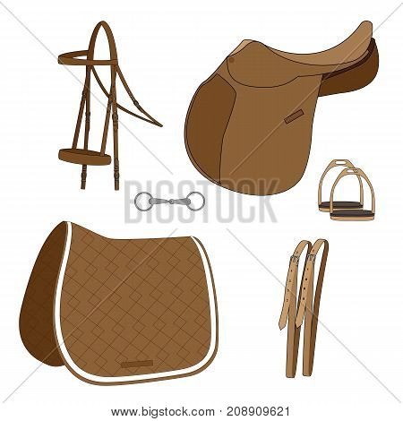 set for riding, hand-drawing vector illustration. EPS 8