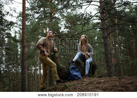 Outdoor autumn picture of two young Caucasian male and female hikers wearing sensible casual clothes having rest deep in forest and looking up while seeing plane or helicopter flying above