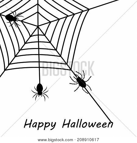illustration of spiders and web with happy Halloween text on the occasion of Halloween Celebration