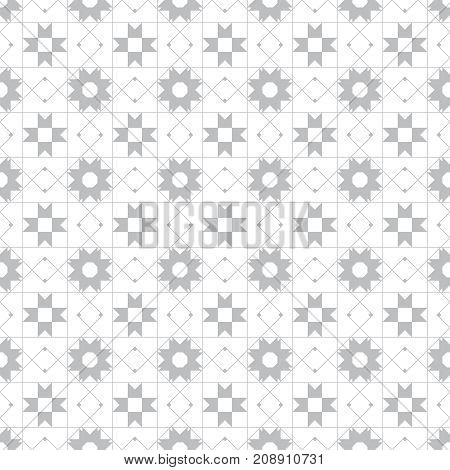 Seamless pattern. Repeating modern stylish geometrical texture with linear rhombus grids stars outline square. Gray. White. Monochrome. Vector contemporary design
