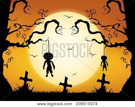 illustration of moon, cross, tree and hanging deadbody on the occasion of Halloween Celebration