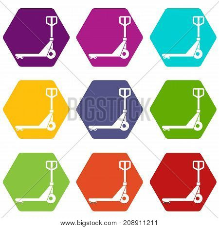 Hand truck icon set many color hexahedron isolated on white vector illustration