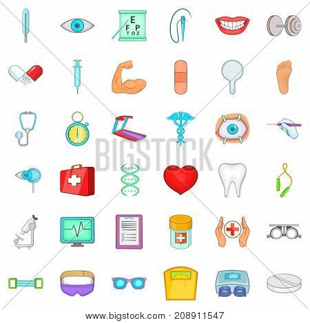 Medication icons set. Cartoon style of 36 medication vector icons for web isolated on white background