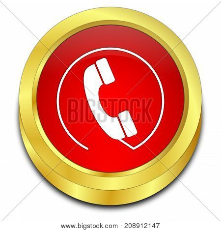 golden red Phone call Button - 3D illustration