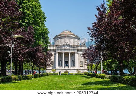Como Italy - May 27 2016: The museum of Como called Volta Temple and dedicated to the scientist Alessandro Volta who invented the electrical battery in Como town Lombardy region of Italy Europe.