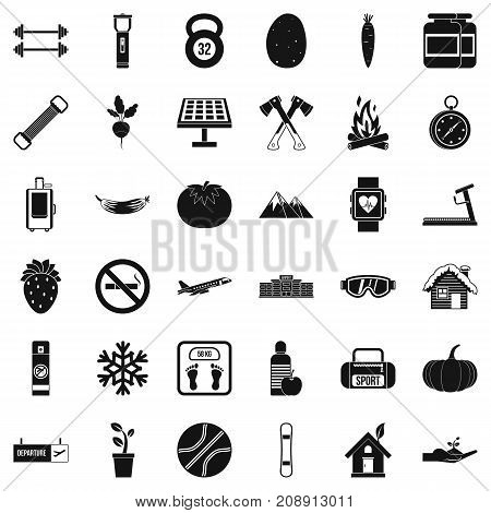 Healthy lifestyle icons set. Simple style of 36 healthy lifestyle vector icons for web isolated on white background