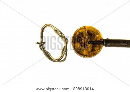 Soldering Iron And Rosin Isolated On White Background