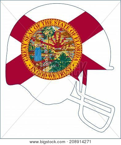 The flag of the USA state of Florida below a football helmet silhouette
