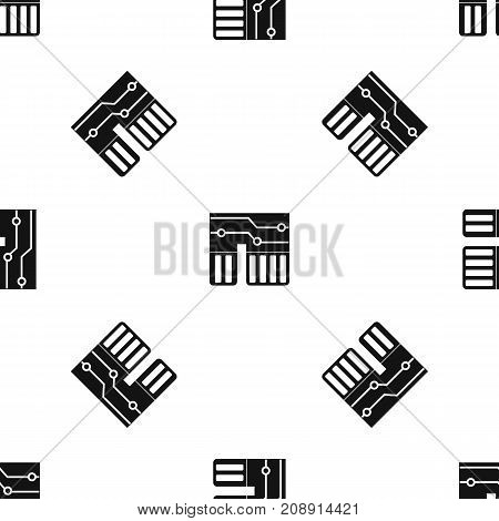 Computer chipset pattern repeat seamless in black color for any design. Vector geometric illustration