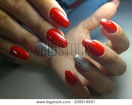 Awesome nails and beautiful clean manicure. Nails are natural. Manicure is made using nails