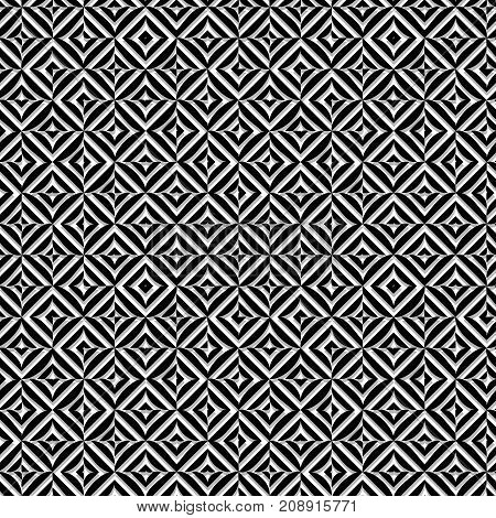 Vector seamless abstract monochrome pattern of oval rhombuses squares.