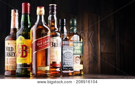 POZNAN POLAND - MAY 17 2017: Whiskey is the most popular liquor in the world. Originated probably in Ireland now it is produced on grand scale also in India Scotland USA Canada and Japan