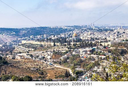 A view of the walls of the old city of Jerusalem the Temple Mount and Al-Aqsa Mosque from Mt. Scopus in Jerusalem Israel