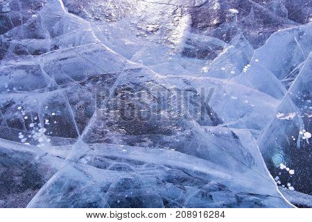 ice and cracks on the surface of Lake Baikal, Winter