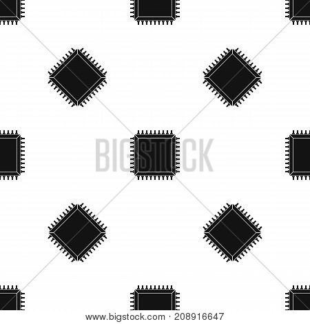 Computer microchip pattern repeat seamless in black color for any design. Vector geometric illustration