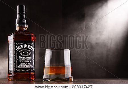 POZNAN POLAND - AUG 24 2017: Jack Daniel's a brand of the best selling American whiskey in the world produced by the Jack Daniel Distillery and owned by the Brown-Forman Corporation since 1956