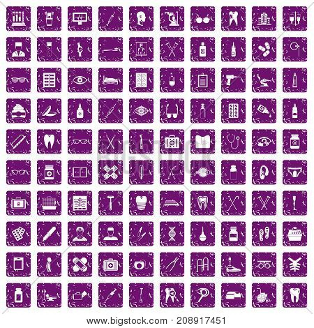 100 medical accessories icons set in grunge style purple color isolated on white background vector illustration