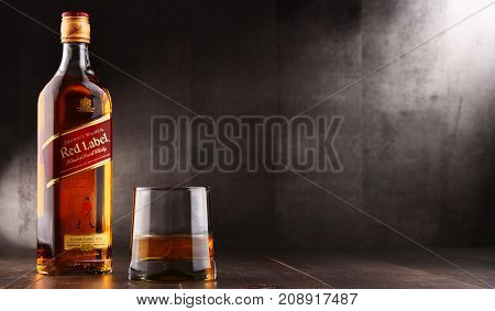 POZNAN POLAND - AUG 24 2017: Johnnie Walker is the most widely distributed brand of blended Scotch whisky in the world with sales of over 130 million bottles a year.