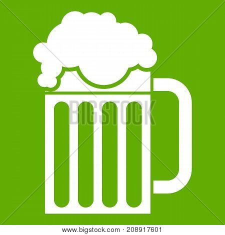 Beer mug icon white isolated on green background. Vector illustration