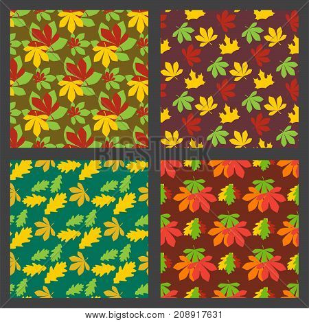 Seamless pattern texture of maple leaves autumn background natural october season decoration vector illustration. Fall seasonal foliage orange backdrop.