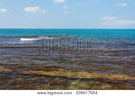 Beautiful sea view with a coastal reefs and clear water