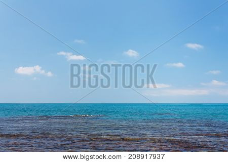 Amazing sea view with a coastal reefs and clear water