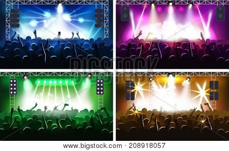 Music festival or concert streaming stage scene with lights fanzone vector illustration party human hands silhouette . Party music scene hands up show