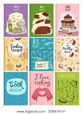 Cooking recipe books cover kitchen design cards template hand drawn culinary notes with doodle kitchen utensils vector illustration. Notebook template hand drawn food cover of cooking book