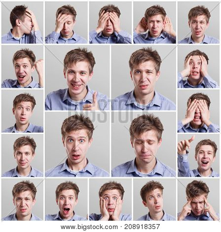 Mosaic of young man expressing different emotions and gesturing at gray studio background. Happy, surprised, skeptical and pensive facial expression