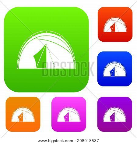 Dome tent set icon color in flat style isolated on white. Collection sings vector illustration