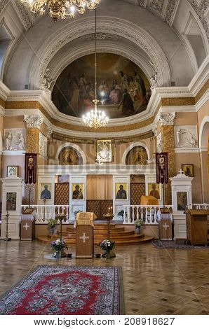 SAINT-PETERSBURG RUSSIA - OCTOBER 14 2017: Interior of the Church of St. Catherine at the Academy of Arts