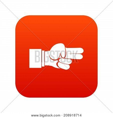 Hand showing two fingers icon digital red for any design isolated on white vector illustration