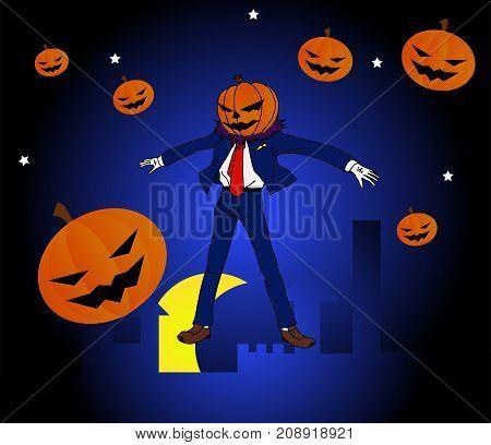 Cartoon Halloween Man super hero on night time.